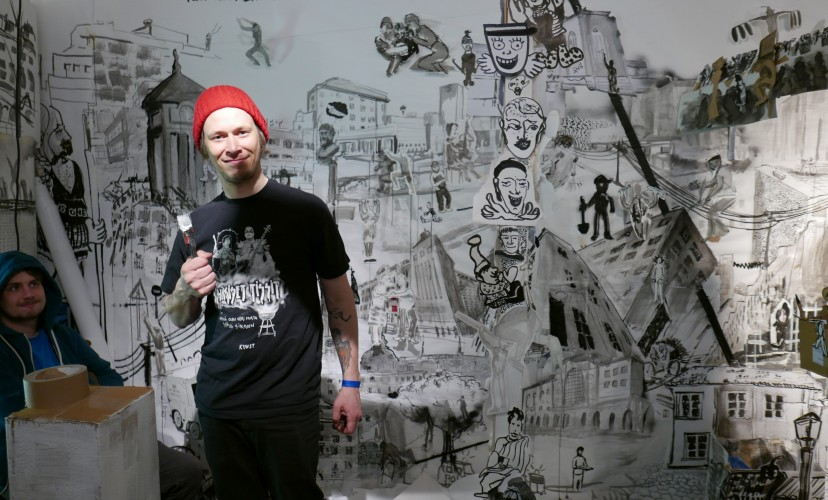 "Glädjemännen´s ""Drawing peformance""  at Supermarket Art fair 2016"
