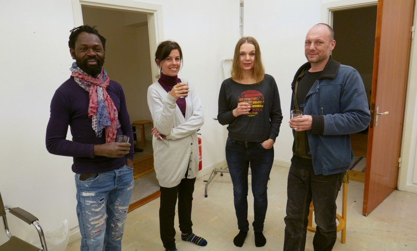 Freddy Tsimba, Cecilia Järdemar, Anna Ekman and Lars Brunström at the Nordic guest studio, Malongen